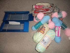 a ton of knitting stuff.. yarn, all kinds of needles.
