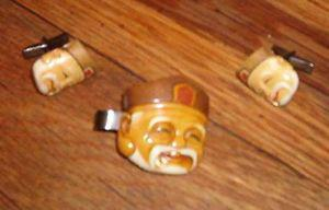 cuff links and tie clip Asian man