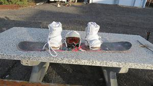morrow 148cm girls snow board helmet and boots and bindings