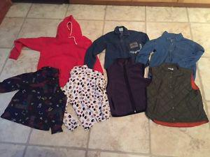 size 5 6 7 kids clothing - tops and pants, pjs