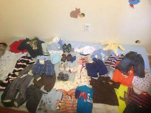 Baby boy clothing, shoes and hats