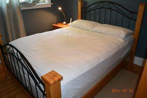 Pine and wrought iron Queen bed frame and nightstand