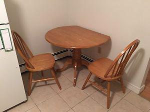Small solid wood dining table & 2 chairs!