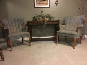 Two Queen Anne Chairs/Matching Setee