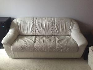 White leather couch and loveseat must go. 200 OBO