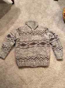 100 percent wool sweater/jacket hand made with zipper, $100