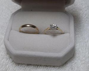 10kt yellow gold Diamond Engagement Ring and 10kt wedding