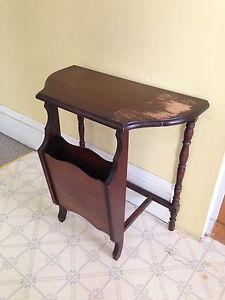 "Antique Half Moon Table, 24"" x 12"""