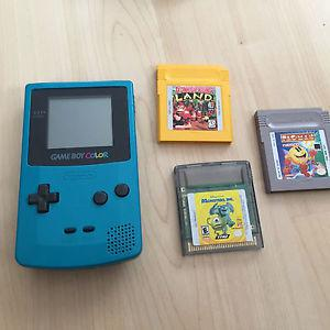 Game boy color with three games