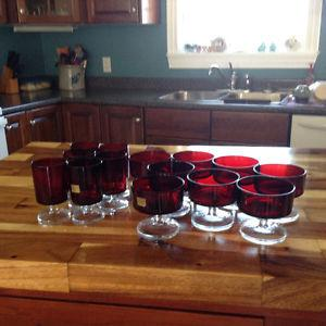 Ruby red goblets and dessert dishes