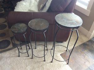 Set of 3 Wrought iron,slate stone top plant