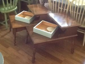 Solid wood side tables set of 2