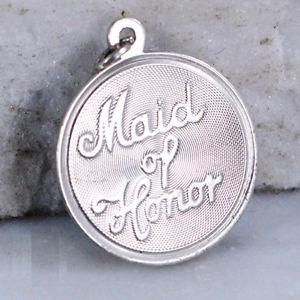 Sterling Silver Maid of Honor Disc Charm Pendant