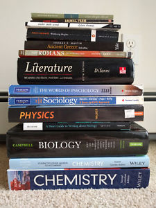 Textbooks asking prices in description