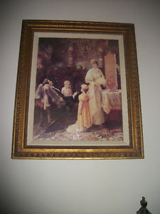 Very Large Antique Ornate Frame With Antique Picture