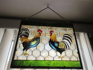 Vitrail de coq pour décoration cuisine