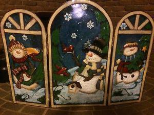 Winter scene Fireplace Screen for Sale