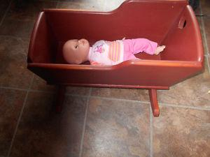 wooden doll cradle and doll