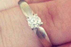 14k white gold diamond solitaire ring for sale!