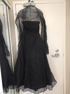 Black Bridesmaid/Grad Dress with Shawl - Size 6