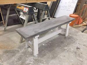 Concrete top and wood base bench