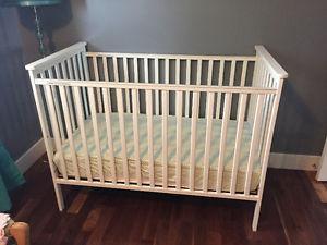 Crib, change table and organic mattres/organic mattress