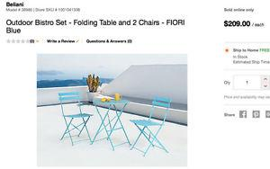 Home Depot Bistro Set in turqouise, table 2 chairs