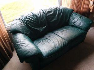Leather loveseat forest green excellent cushions though does