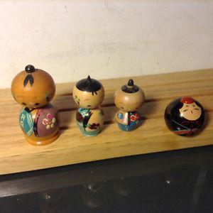 Lot of 4 Vintage Japanese Wooden Kokeshi Dolls