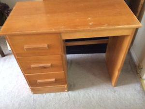 Solid hardwood desk with three