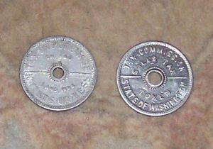 TWO STATE OF WASHINGTON TAX COMMISSION  SALES TAX TOKEN