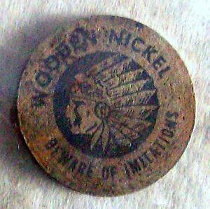 VINTAGE WOODEN NICKLE TOKEN ~ WOODEN INDIAN HEAD TOKEN ~