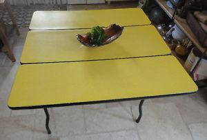 Vintage Yellow Arborite Table Black Legs Drop Down Sides