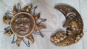 Wall mount ceramic Sun and Moon