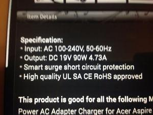 Wanted: Looking for power/charging cord for a Acer Aspire