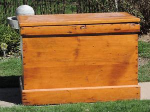 19TH CENTURY VINTAGE WOODEN BLANKET CHEST/TV STAND