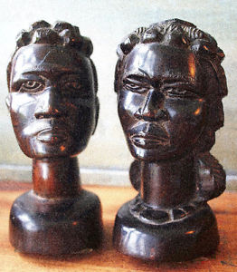 ANTIQUE 2 Statues Ebony wood Central Africa, s. Man &