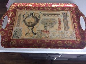 Beautiful Melamine Tray with 2 matching Trivets
