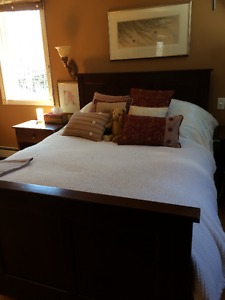 Bed and 2 nightstands; solid wood