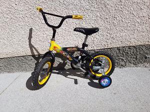 "Boys 12"" bike with training wheels"