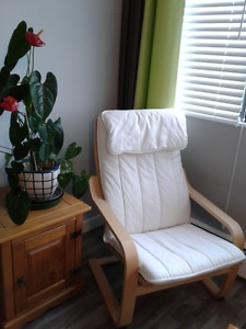 ### IKEA Phoang white CHAIR and side TABLE