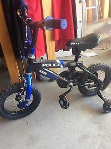 Kids police bike with training wheels