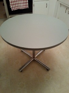 Round Grey Meeting Table with Chrome Base