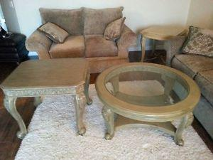 Rounded coffee table and end table