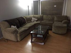 Sectional couch w/ fold out bed and recliner $250