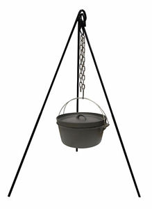 Stansport seasoned dutch oven with a tripod for camping