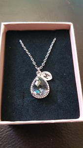 Tear drop pendant necklace with M initial