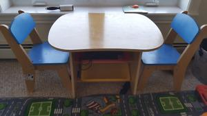 Toddlers play desk with organizers and two chairs