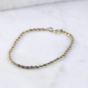 Vintage Sterling Silver 3mm Gold Plate Rope Chain Bracelet