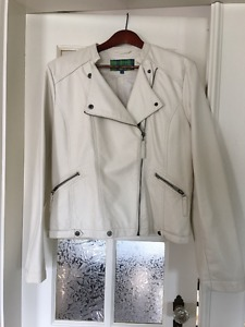 White Faux Leather Women's Jacket
